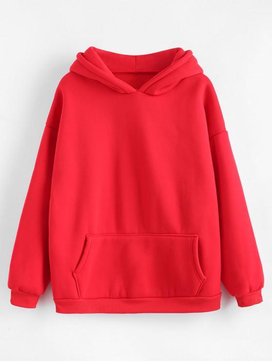 ladies Kangaroo Pocket Fleece Lining Hoodie - RED 2XL