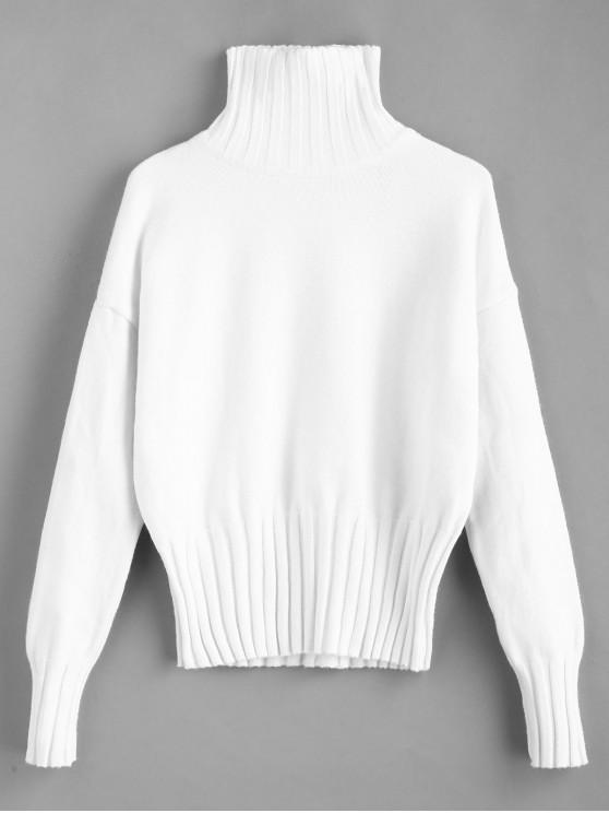 outfits High Neck Drop Shoulder Jumper Sweater - WHITE ONE SIZE