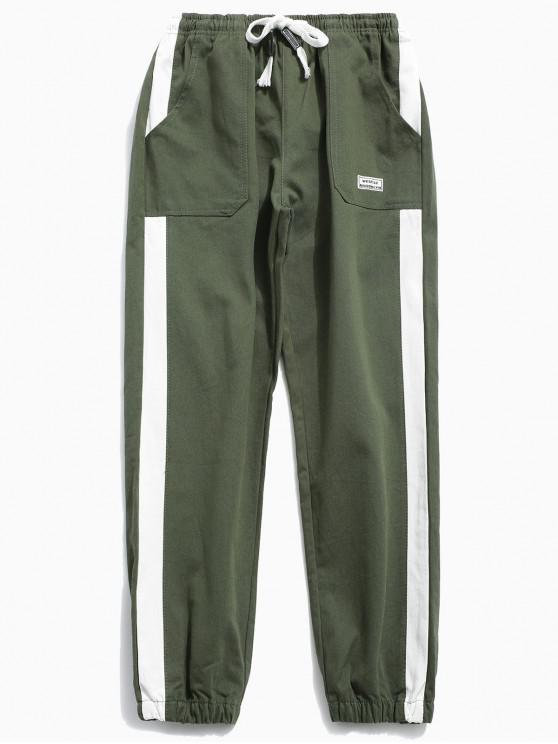 بنطال مقلم مزين بنقوش جانبية - الجيش الأخضر 2XL