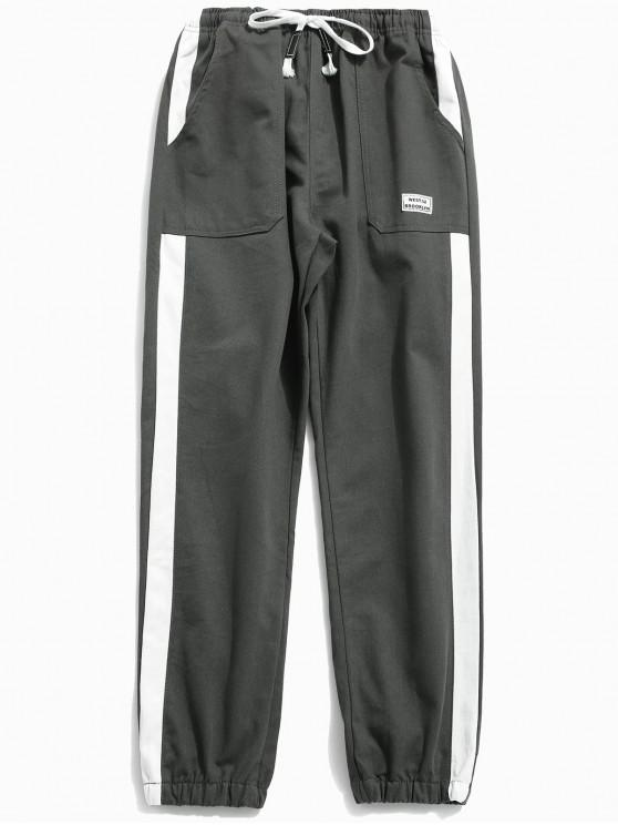 womens Side Striped Applique Jogger Pants - ASH GRAY XL