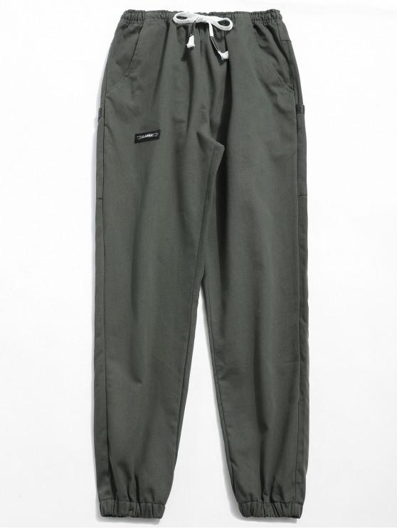Pantalones basculador de cintura elástica sólida - Gris Ceniza M