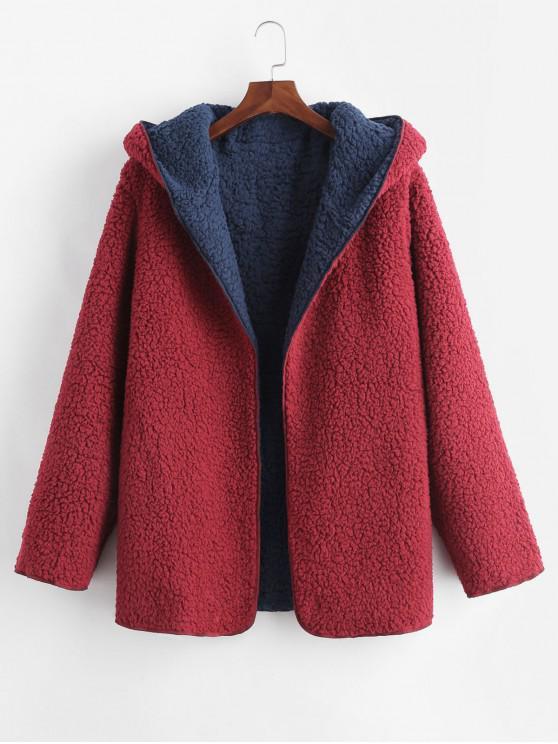 hot Hooded Open Front Lamb Wool Teddy Coat - CHERRY RED S