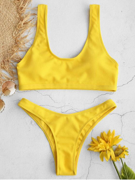 Bikini acolchado acanalado ZAFUL - Amarillo M