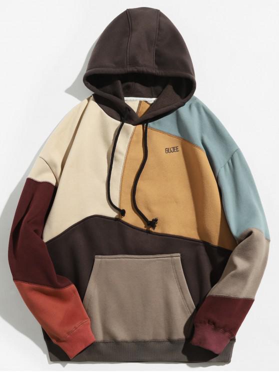 fancy Colorblock Sewing Patchwork Fleece Hoodie - KHAKI L