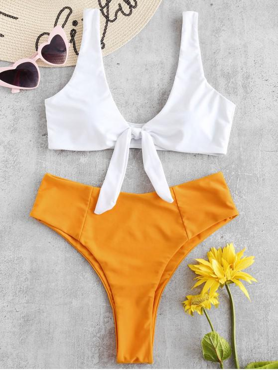 new ZAFUL Tied Color Block Bikini Set - BRIGHT YELLOW S