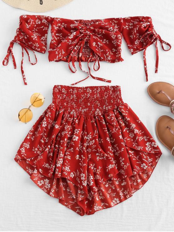chic Zaful Off Shoulder Cinched Floral Set - CHESTNUT RED 2XL