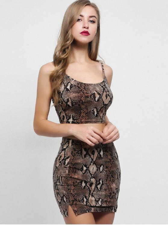 unique Snakeskin Print Cami Top and Skirt Set - MULTI S