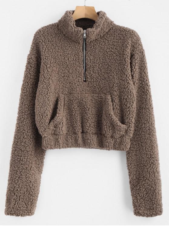 latest Half Zip Fluffy Faux Shearling Teddy Sweatshirt - DEEP BROWN L