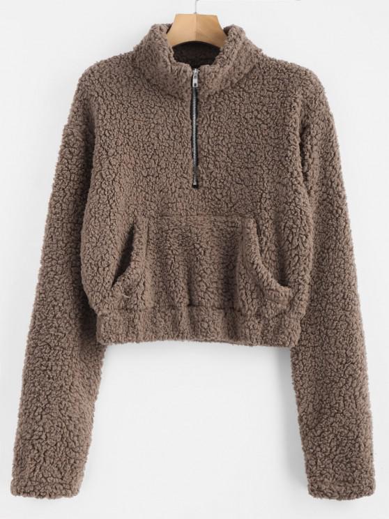 Sweat-shirt Fourré à Demi-Zip en Fausse Laine - marron foncé M