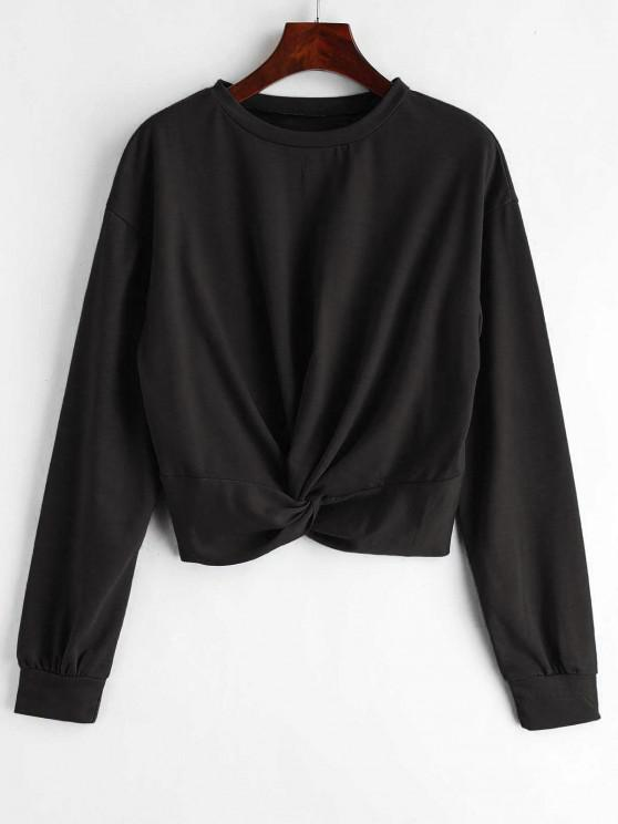 women ZAFUL Twist Front Plain Sweatshirt - BLACK S