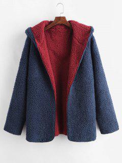 Hooded Open Front Lamb Wool Teddy Coat - Cadetblue L