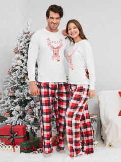 Reindeer Print Plaid Christmas Couple Pajamas - White Woman M