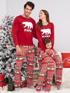 Bear Geometric Family Chirstmas Pajama Set - Red Mom M