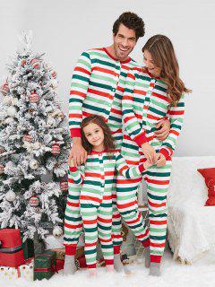 Half Button Striped Christmas Family Pajamas - Multi 4t