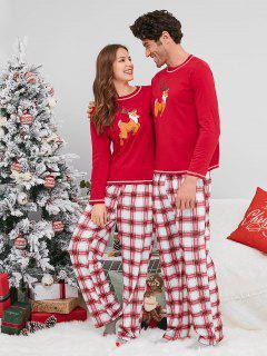 Plaid Reindeer Print Christmas Couple Pajamas - Red Woman M