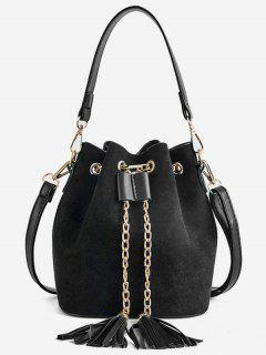 Mini Tassel Design Bucket Crossbody Bag - Black