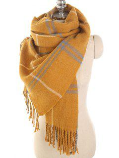 Checked Pattern Fringed Scarf - Golden Brown