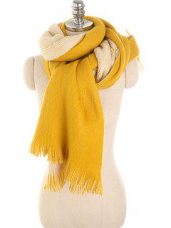 Stylish Fringed Long Scarf - Mustard