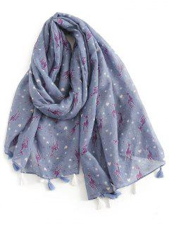 Cartoon Elk Print Silky Scarf - Slate Blue