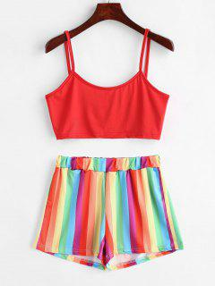 Rainbow Stripe Two Piece Set - Multi-a L