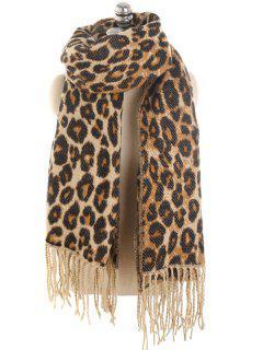 Vintage Leopard Printing Tassel Long Scarf - Brown