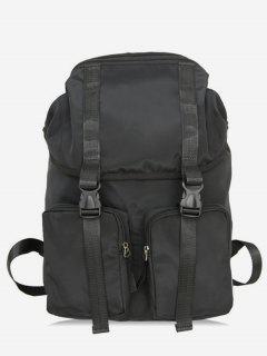 String Design Waterproof School Backpack - Black