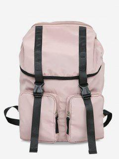String Design Waterproof School Backpack - Light Pink