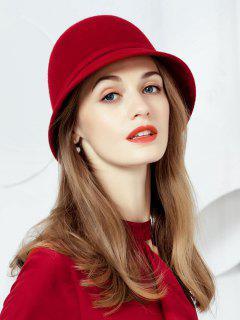 Elegant Bowknot Back Cloche Hat - Cherry Red