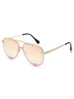 Metal Frame Crossbar Driving Sunglasses - Pig Pink
