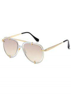 Metal Frame Crossbar Driving Sunglasses - Champagne Gold