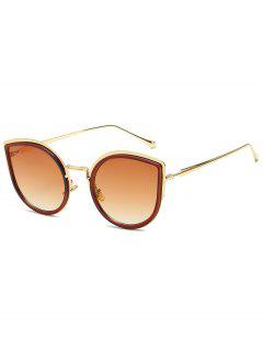 Retro Metal Frame Catty Sunglasses - Cookie Brown
