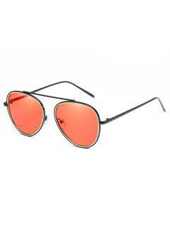 Crossbar Metal Frame Pilot Sunglasses - Watermelon Pink