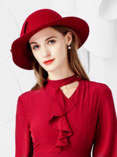 Bowknot Side Wide Brim Woolen Hat - Red