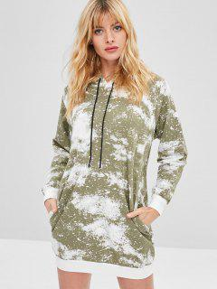 Side Pockets Paint Splatter Print Hoodie Dress - Camouflage Green