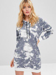 Side Pockets Paint Splatter Print Hoodie Dress - Light Slate Gray