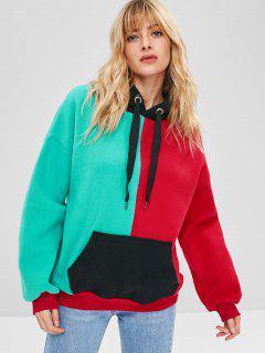 Color Block Bolsa Polar Sudadera Con Capucha De Gran Tamaño - Multicolor Xl
