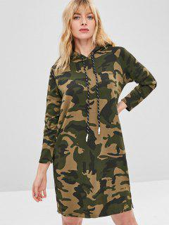 Camo Print Pullover Hoodie Dress - Acu Camouflage
