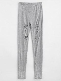 Ripped Skinny Ninth Leggings - Gray