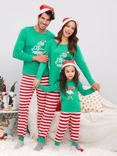 Striped Family Chirstmas Pajama Set - Green Kid 130