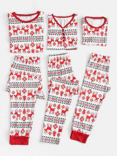 Elk Snowflake Family Chirstmas Pajamas - Red Mom M