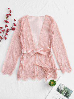 Floral Lace Sheer Belted Dessous Robe - Pink