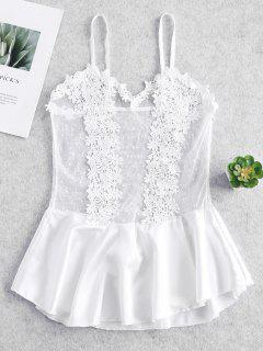 Lace Floral Crochet Lingerie Dress - White