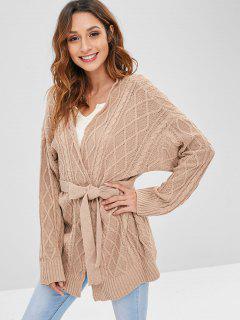 Cable Knit Drop Shoulder Belted Cardigan - Camel Brown