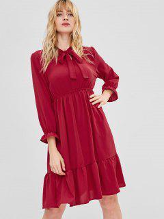 Robe Longueur à Genou à Manches Longues à Volants - Rouge Vineux