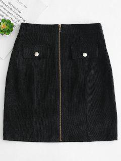 Front Zip Corduroy Skirt - Black L