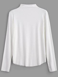 Camiseta De Manga Larga Con Cuello Alto - Blanco