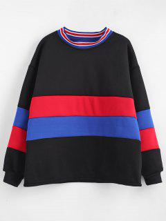 Fleece Lining Striped Drop Shoulder Sweatshirt - Black M