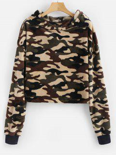 Camouflage Loose Faux Fur Hoodie - Acu Camouflage M