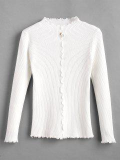Faux Pearl Embellished Lettuce Trim Sweater - White