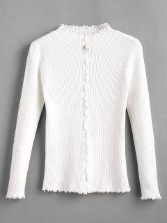 Pull Embelli De Fausse Perle à Brodure Plissée - Blanc